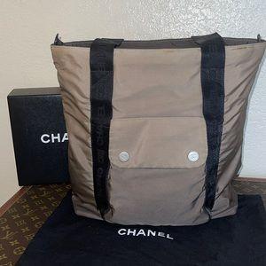 Authentic Chanel ombré nylon travel tote shopper